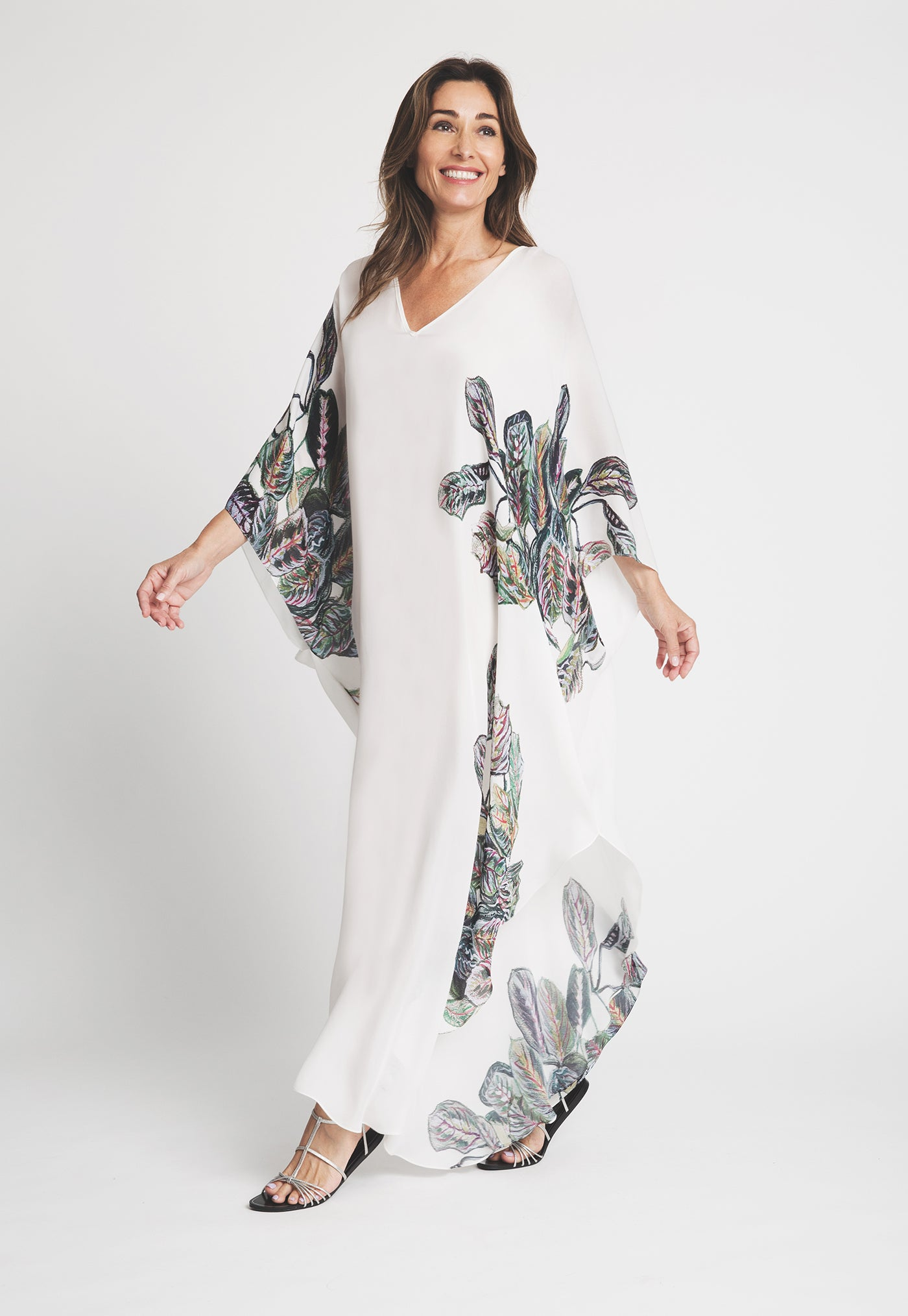 Alma Kaftan in Tropical Leaves front side view