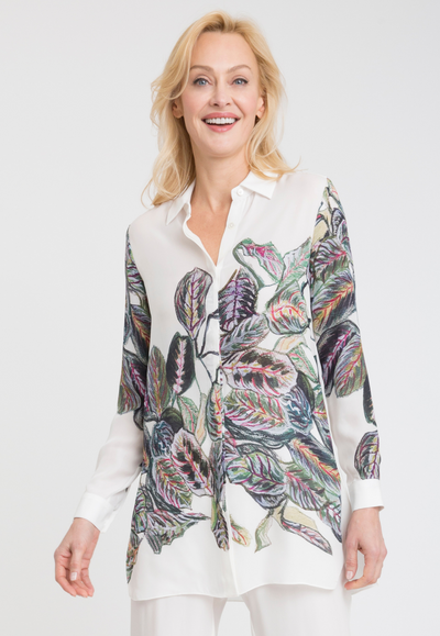 large leave white printed silk tailored blouse shirt