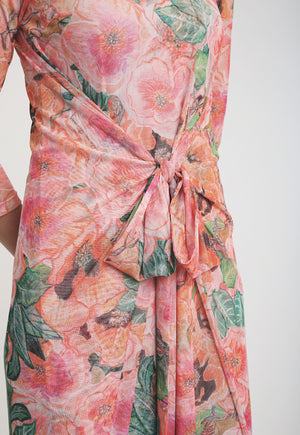 Long sleeve dress with wrap in a pink floral print
