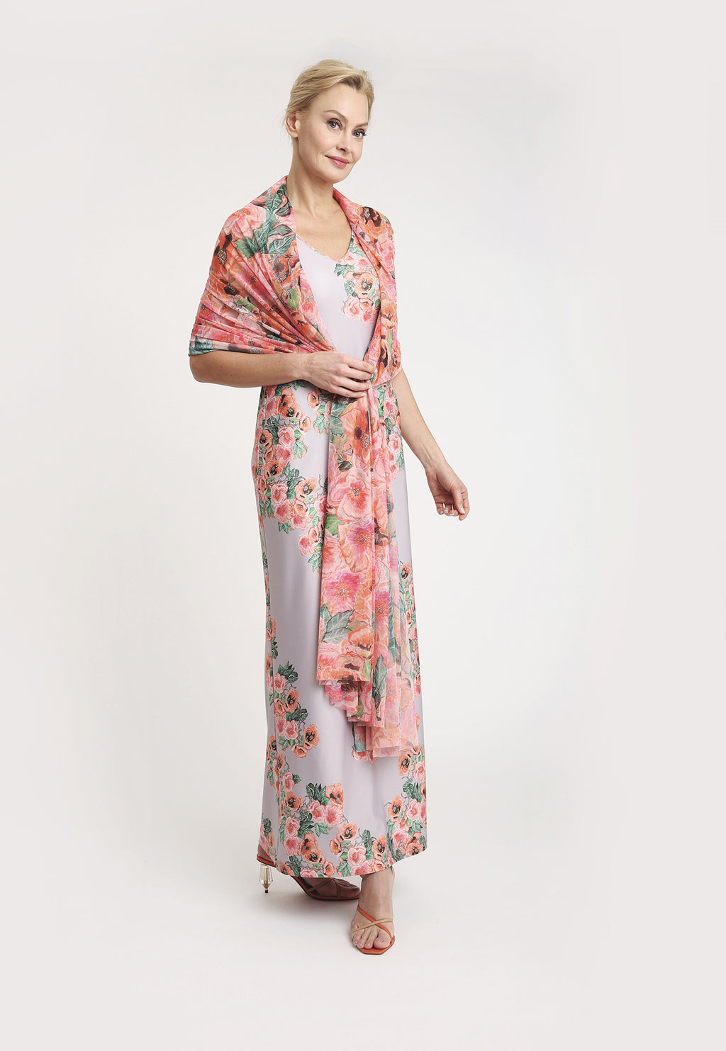 Gala Shawl in Taj paired with matching long Lavinia Dress front view