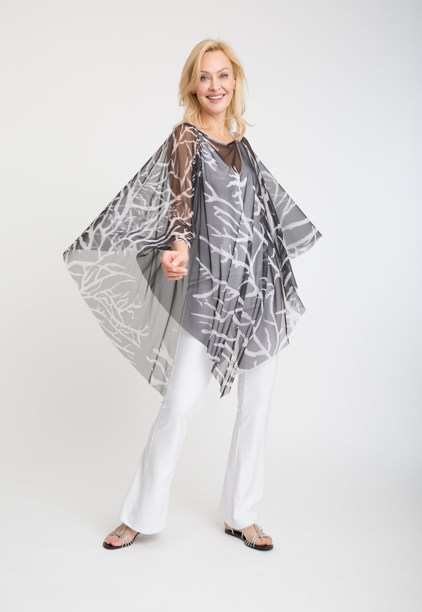 Artemisia Poncho in Moon Coral front view