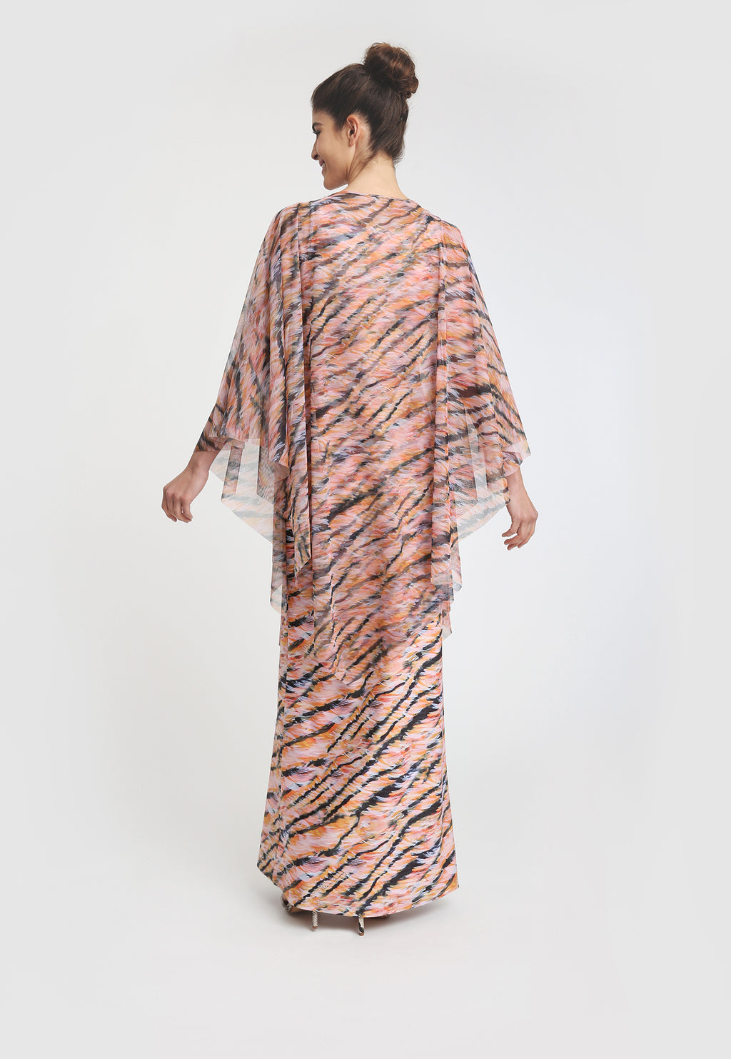 Artemisia Poncho in Bengal paired with matching short Lavinia dress back view