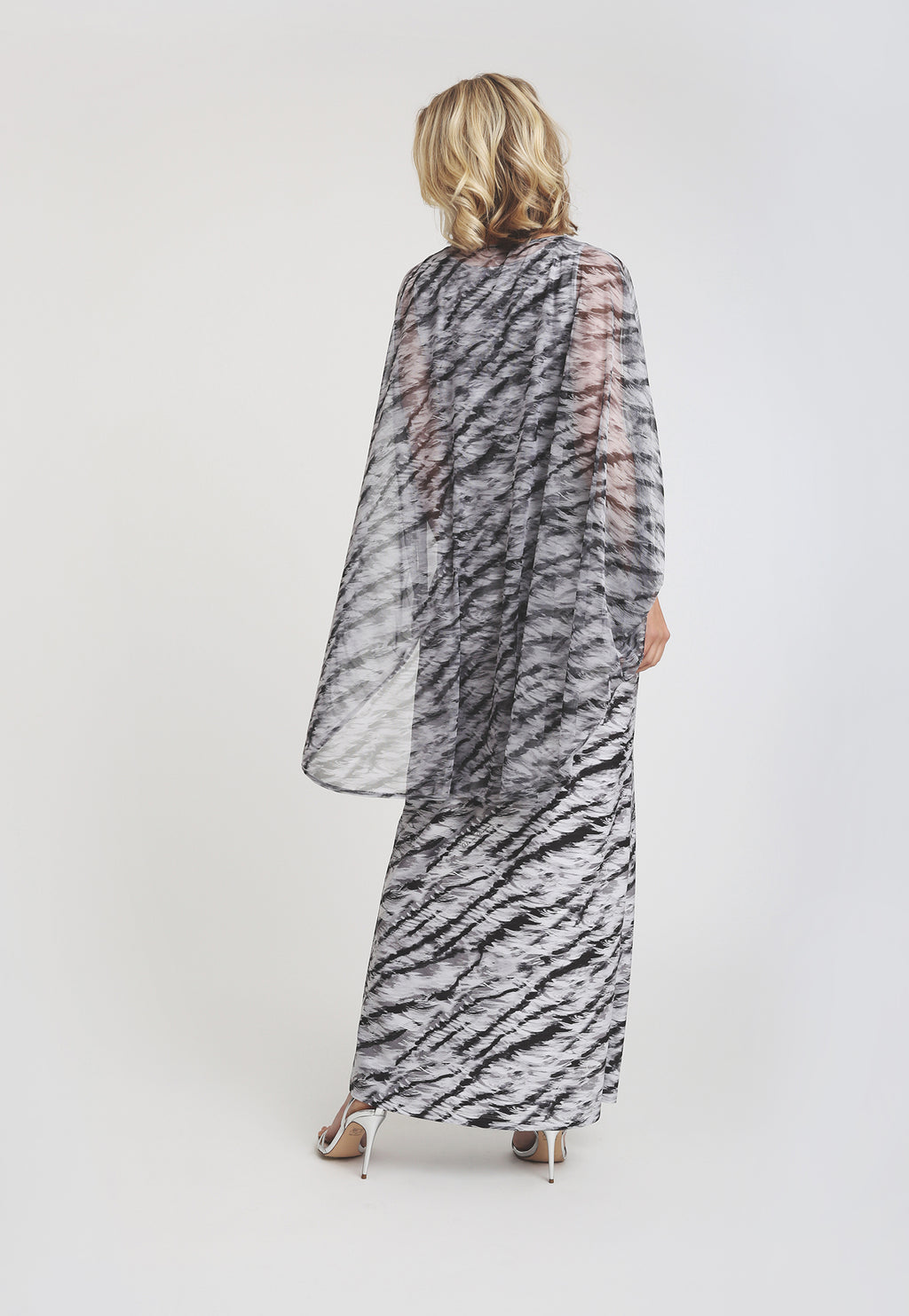 Jane Capelet in Assam paired with matching long Lavinia dress back view