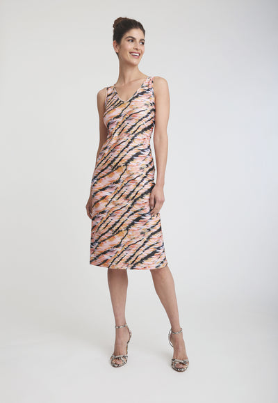 short pink and orange tiger stripe printed stretch knit dress