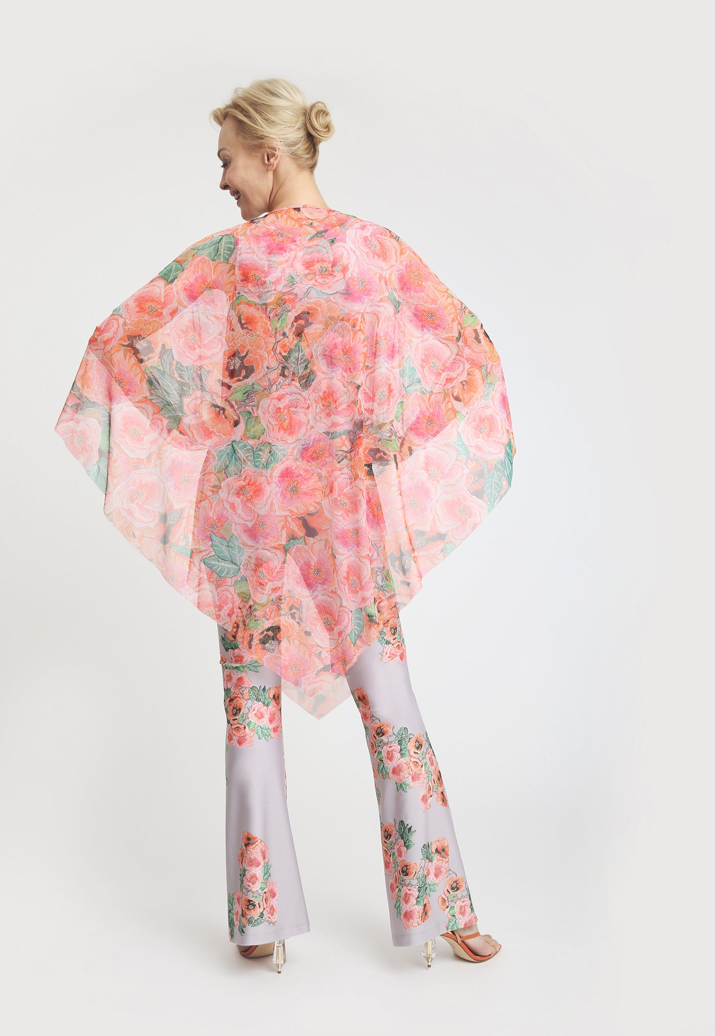 Artemisia Poncho in Taj paired with matching pant back view