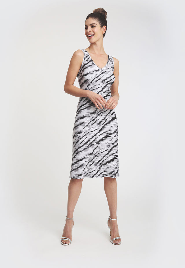 Knee length sleeveless dress with black and white zebra print