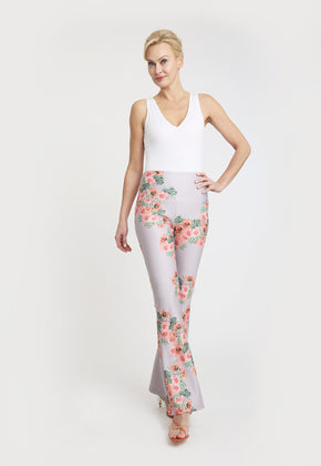 Lilac pant with pink floral pattern and a white tank top
