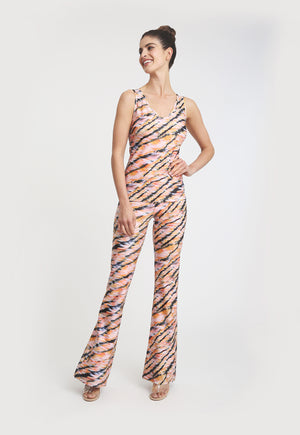 Elaine Pant in Bengal paired with matching tank top front view