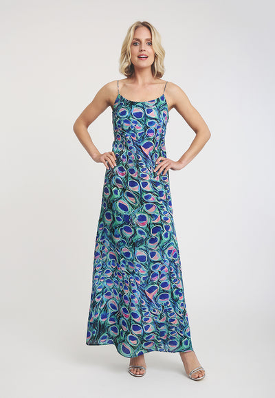 peacock printed long silk slip dress