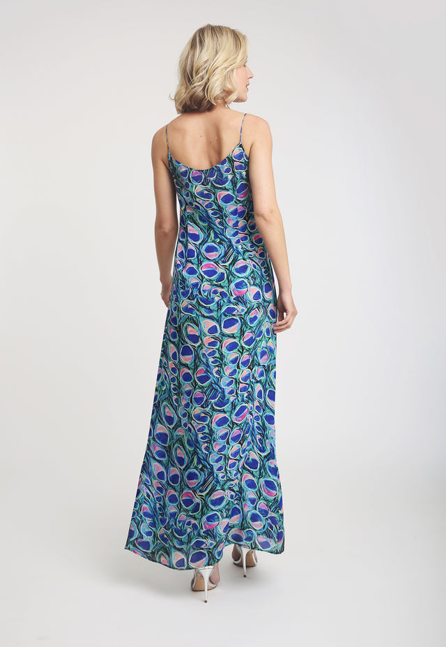 Michelle Silk Slip Dress in Jaipur back view