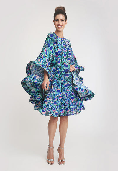 ruffled sleeve peacock printed knee length dress