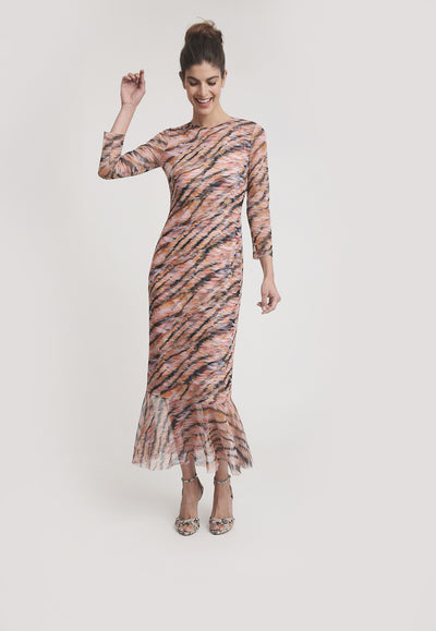 pink and orange tiger stripe printed mesh short dress with ruffled bottoms layered over short stretch knit tiger printed dress