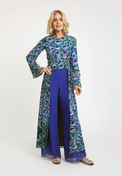 peacock printed topper with long side panels and blue silk trousers