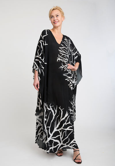 silk black and white coral printed kaftan