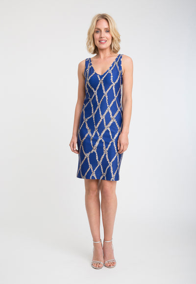 blue rope printed stretch knit short dress