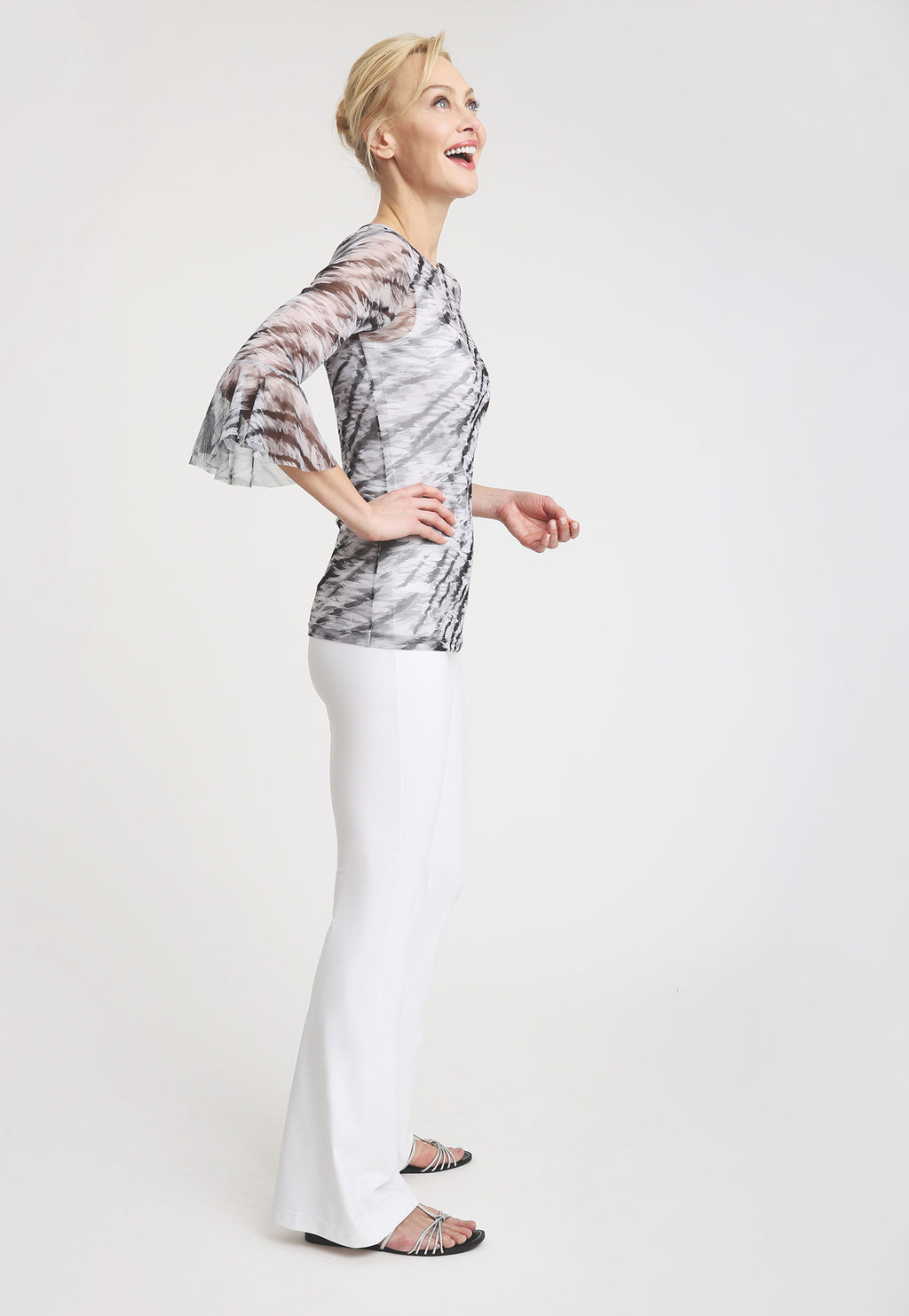 Long sleeve mesh black and white tiger print top and white pant