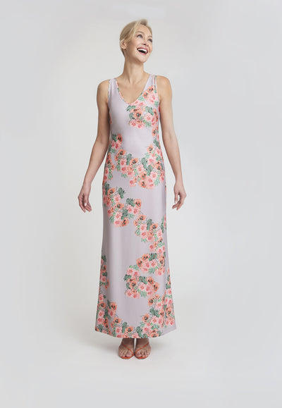 pink and orange flower printed stretch knit long dress
