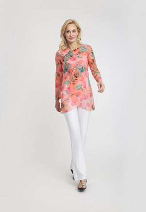 Long sleeve pink floral printed sheet with lilac pants with white pant