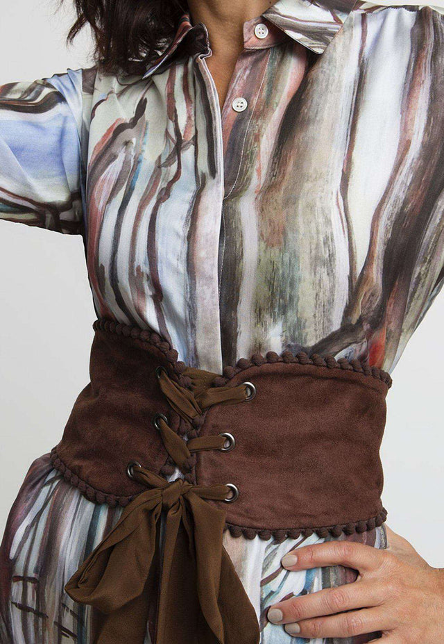 Alice Corset Belt in Brown Suede
