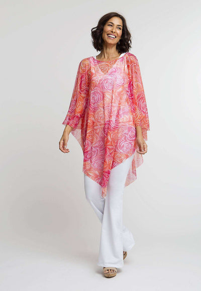 pink and orange flower printed mesh short poncho