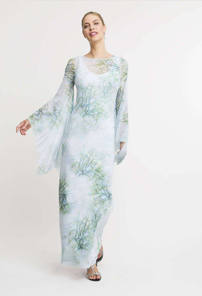 green cactus printed long mesh dress with long sleeves layered over long cactus printed stretch knit dress