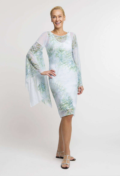 green cactus printed mesh short dress with long sleeves layered over short cactus printed stretch knit dress