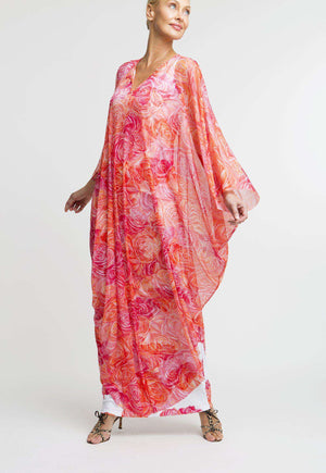 Francoise Kaftan in Moraine paired with long Lavinia dress front view
