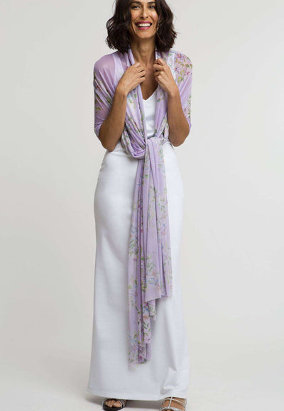 lavender flower print mesh shawl scarf layered over long stretch knit white dress