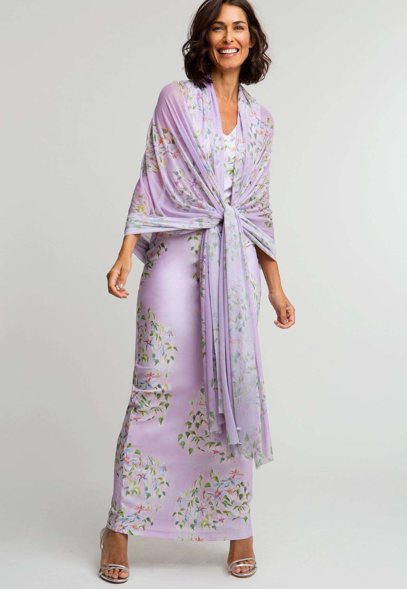 Gala Shawl in Sagaponack paired with matching long Lavinia Dress in Sagaponack front view