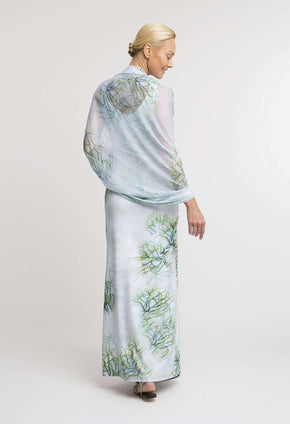 Gala Shawl in Tulum paired with matching long Lavinia dress back view