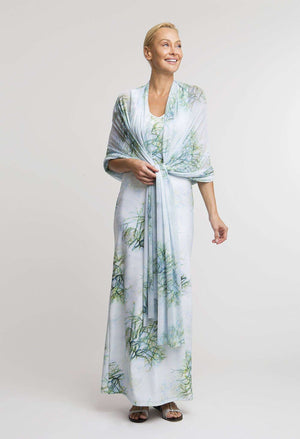 Gala Shawl in Tulum paired with matching long Lavinia Dress front view
