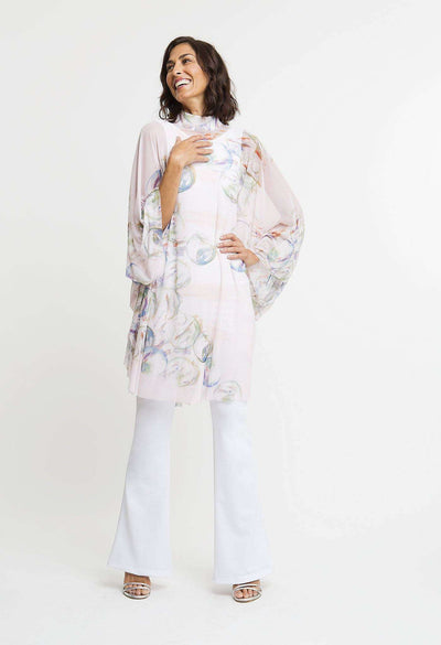 lavender and blue bubble printed mesh high neck sleeved poncho