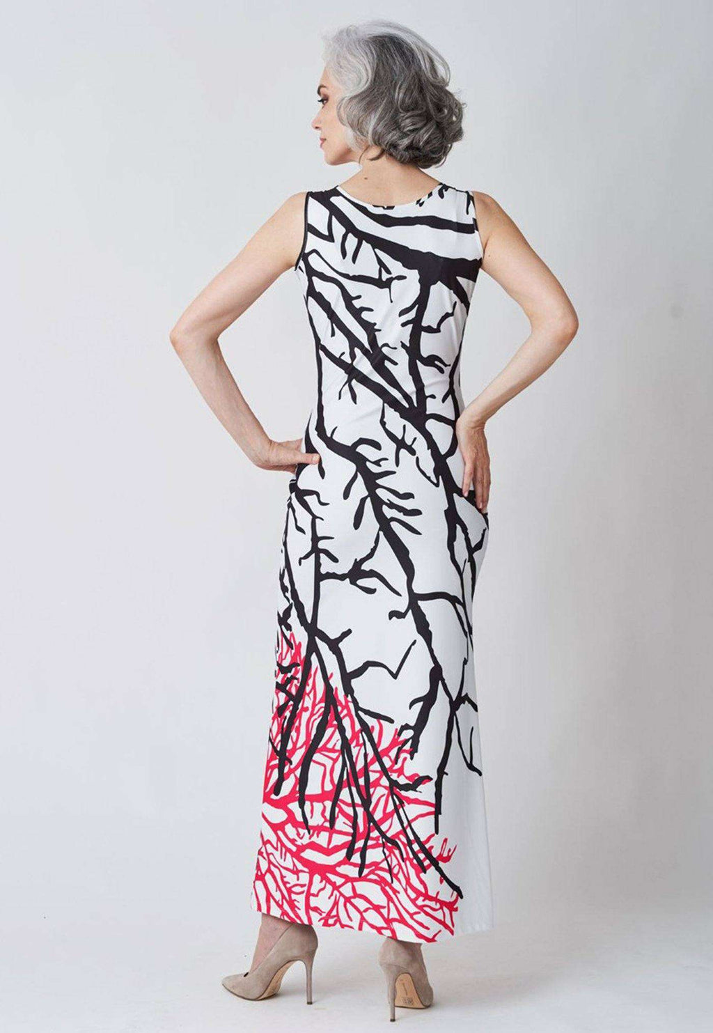 Lavinia Dress in Black and Coral