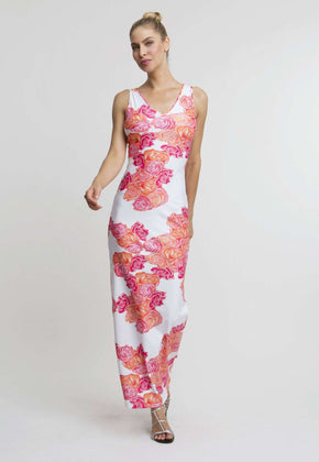Lavinia Long Dress in Moraine front view