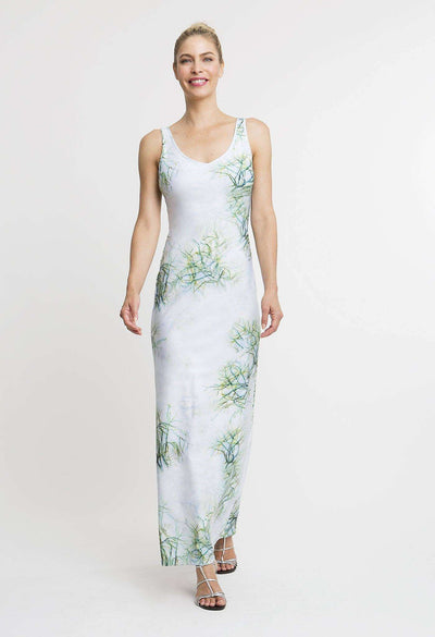 green cactus printed long stretch knit dress