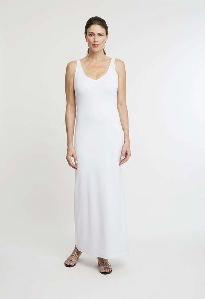 long stretch knit white dress