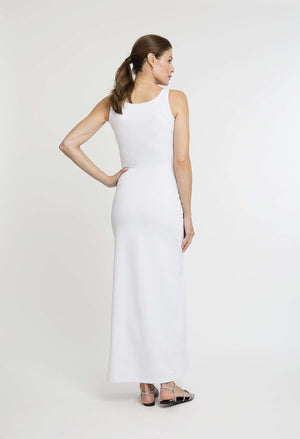 Lavinia Long Dress in White back view