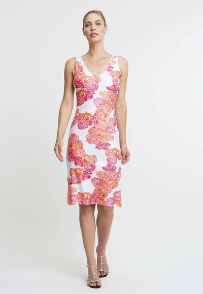 pink and orange flower printed stretch knit short dress