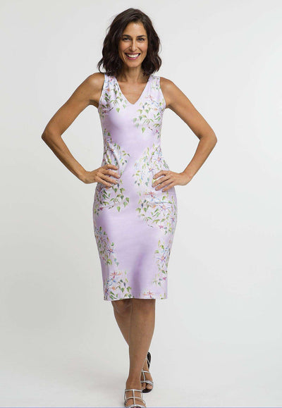 lavender flower printed stretch knit short dress