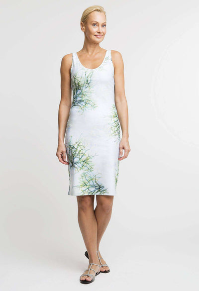 green cactus printed short stretch knit dress
