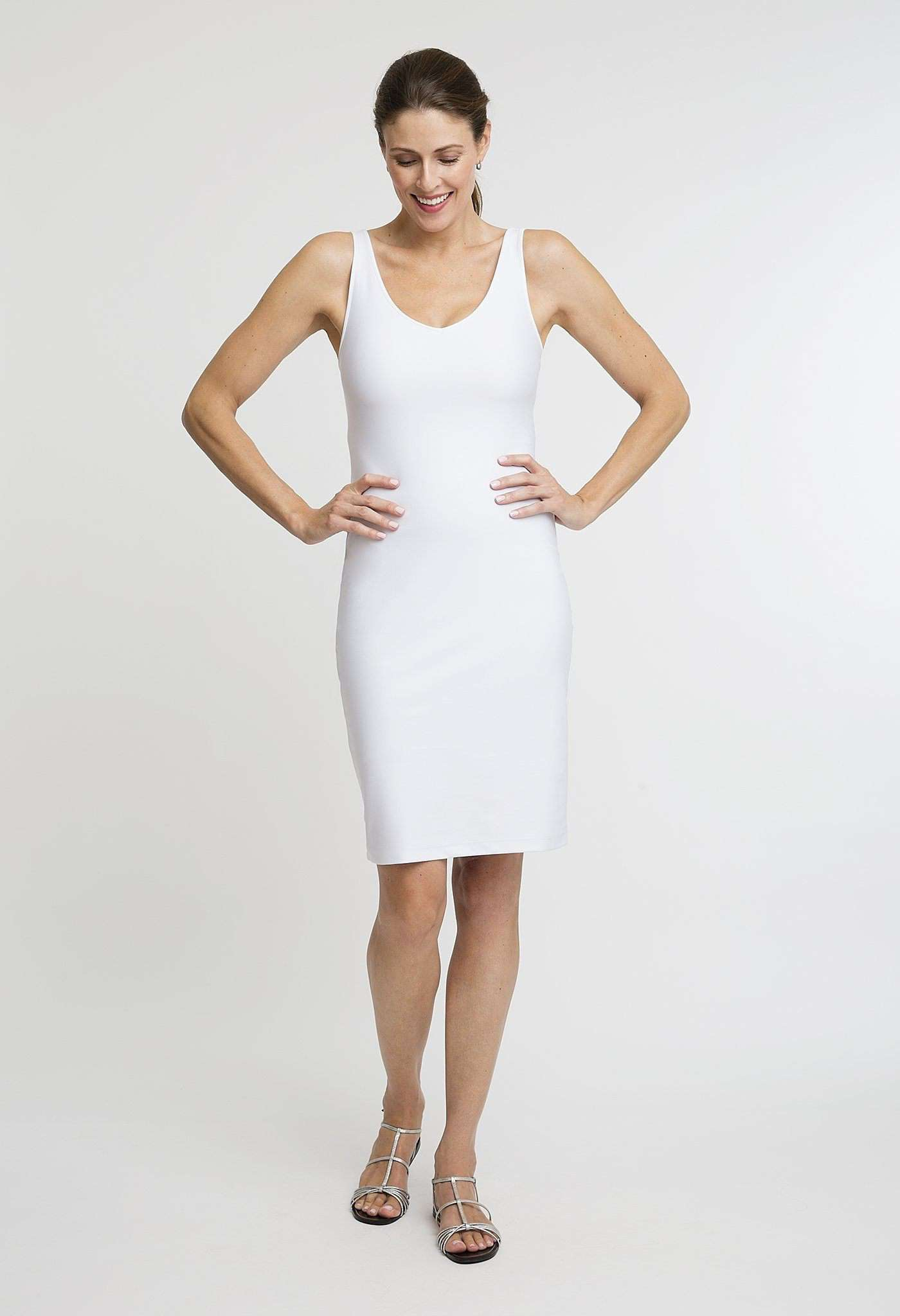 Lavinia Short Dress in White front view