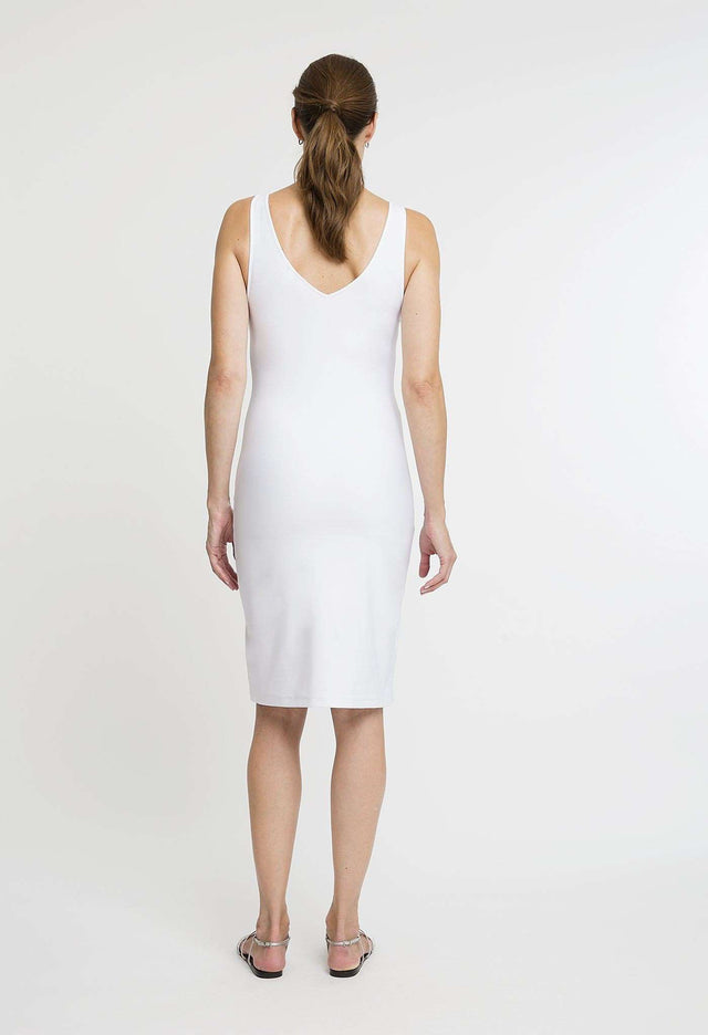 Lavinia Short Dress in White back view