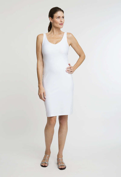 short white stretch knit dress