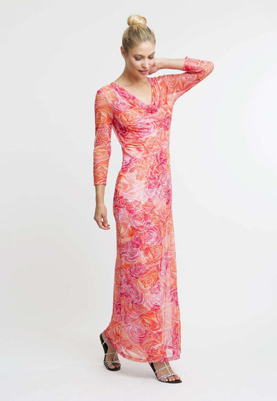 pink and orange flower printed mesh cowl neck dress layered over long orange and pink flower printed stretch knit dress