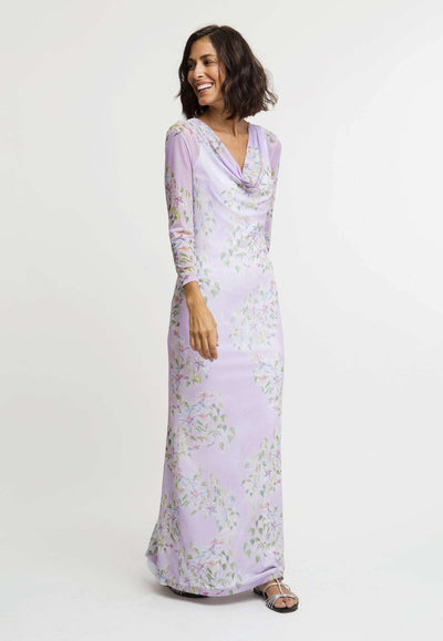 long mesh lavender flower printed cowl neck dress layered over long lavender flower printed stretch knit dress