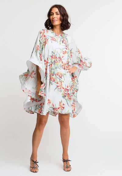 orange and blue flower printed silk short dress with large ruffled sleeves