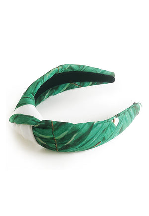 Ava headband in Queen Palm side view