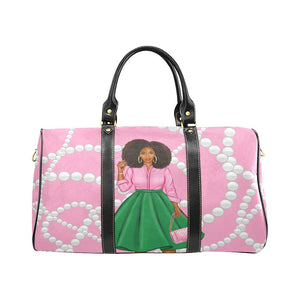 Pink and Green Pearls Overnight Travel Bag