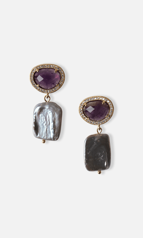 Amethyst Square Earrings - Villa Yasmine