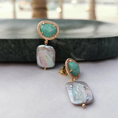 Amazonite Square Earrings - Villa Yasmine
